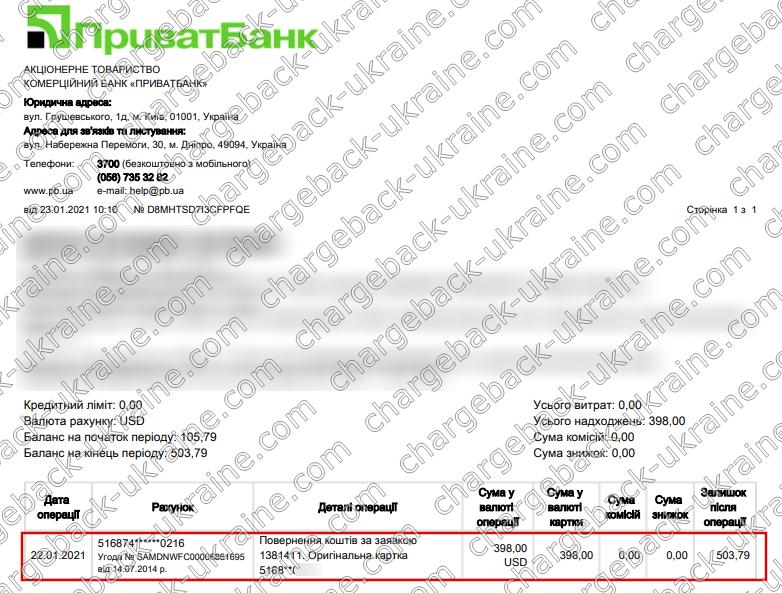 Поверенення 23 січня 2021 – 398 доларів з LBLV