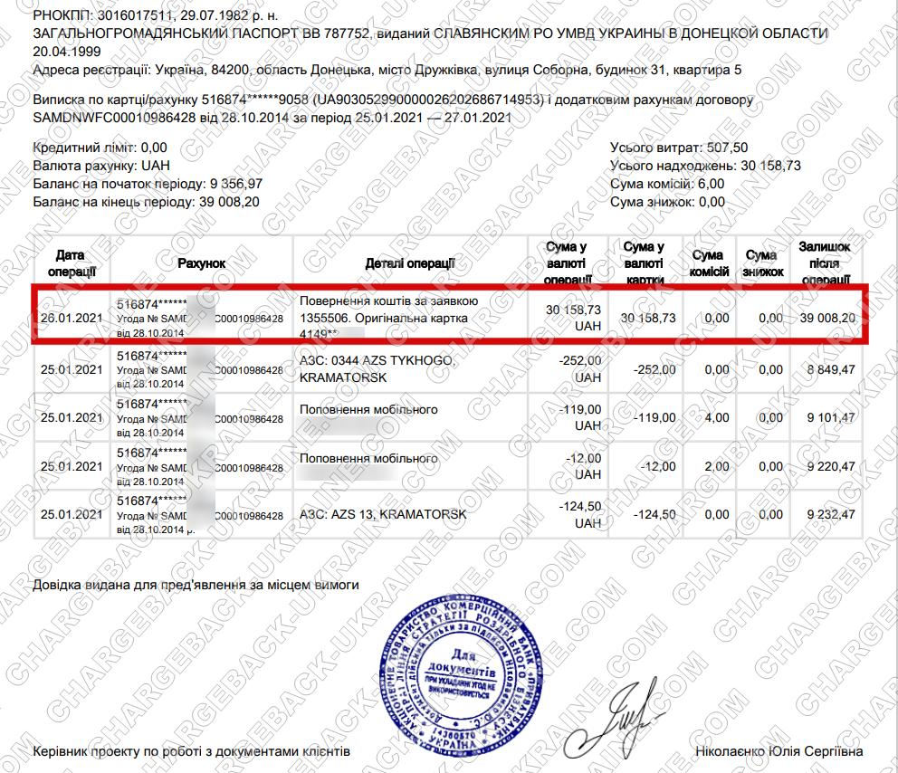 Поверенення 27 січня 2021 – 30158 гривень з Adal-Royal