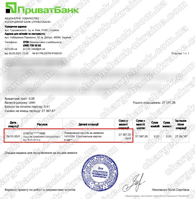 Поверенення 29 березня 2021 – 27397 гривень з TRADERSHOME