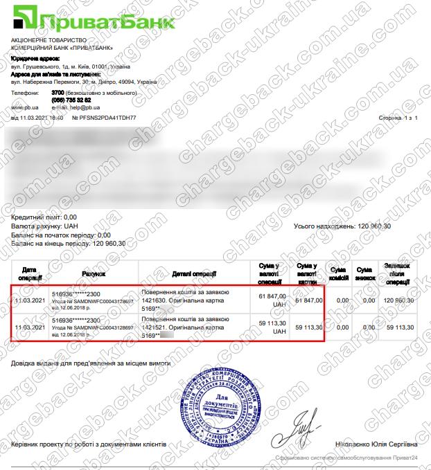 Поверенення 11 березня 2021 – 120 960 гривень з lblv