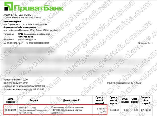 Поверенення 31 березня 2021 – 5 464 гривень з TRADERSHOME