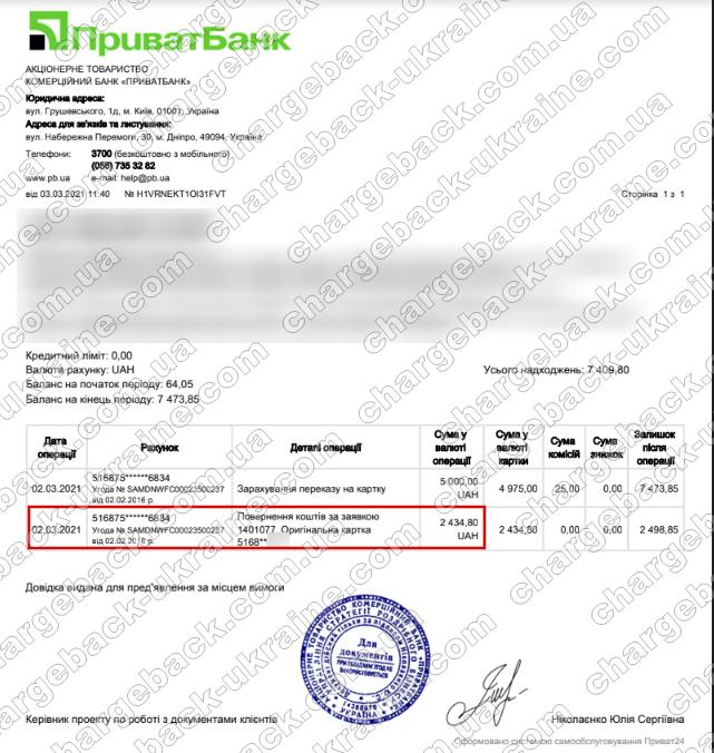 Поверенення 03 березня 2021 – 2434 гривень з TradersHome