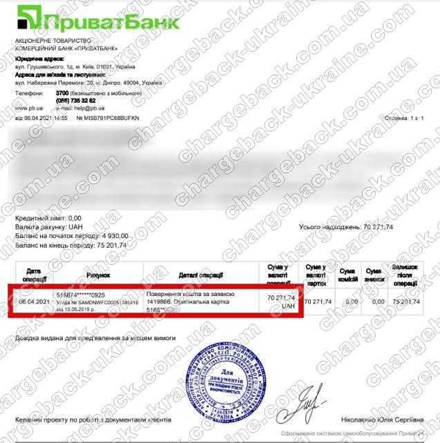 Поверенення 6 квітня 2021 – 70 271 гривень з TRADERSHOME