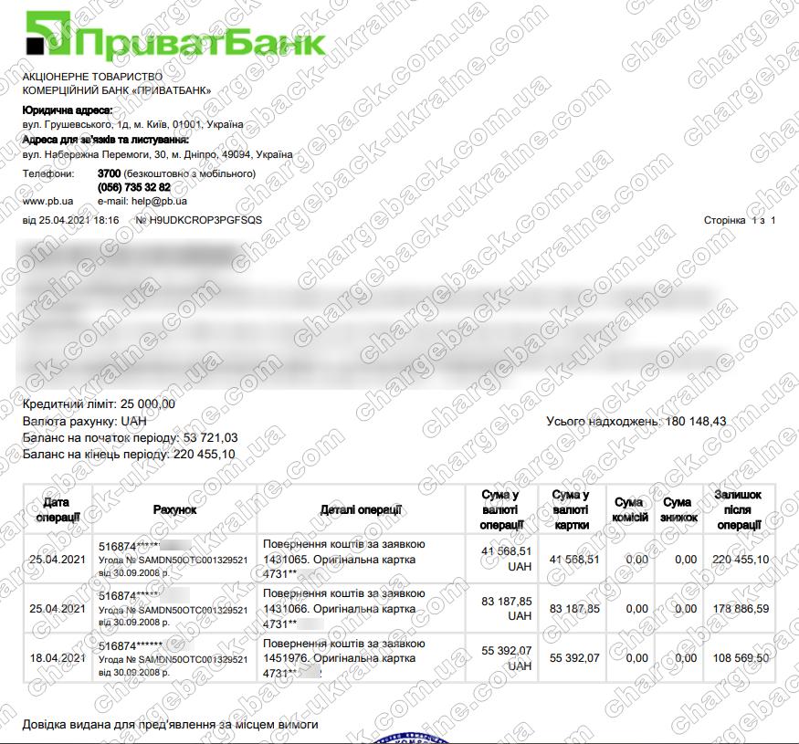 Поверенення 25 квітня 2021 – 124756 гривень з vlom