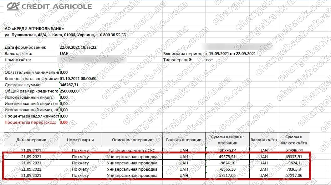 Поверенення (чарджбек) 22 вересня 2021 – 194582 гривень з Vlom