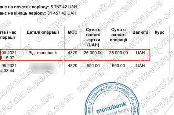 Поверенення (чарджбек) 30 вересня 2021 – 25000 гривень з trust-m-capital