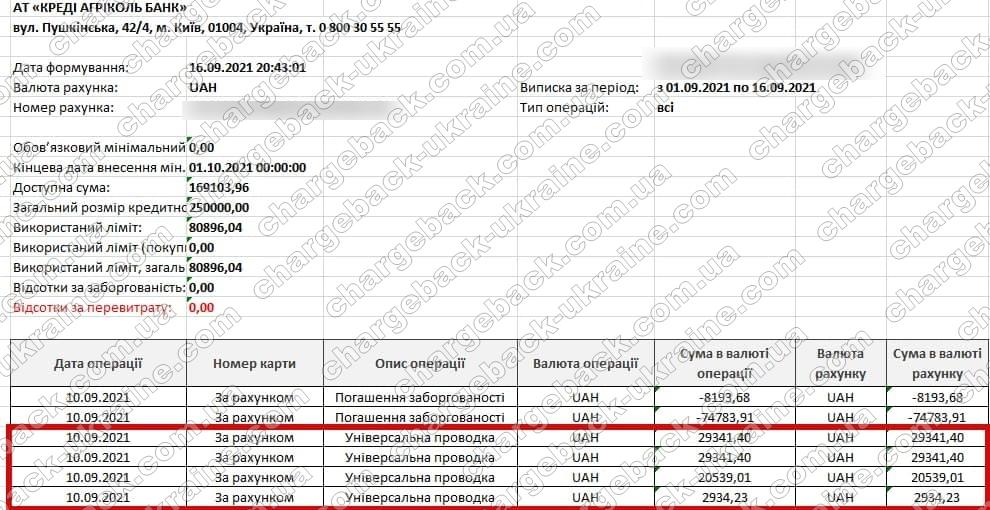 Поверенення (чарджбек) 16 вересня 2021 – 82156 гривень з Vlom