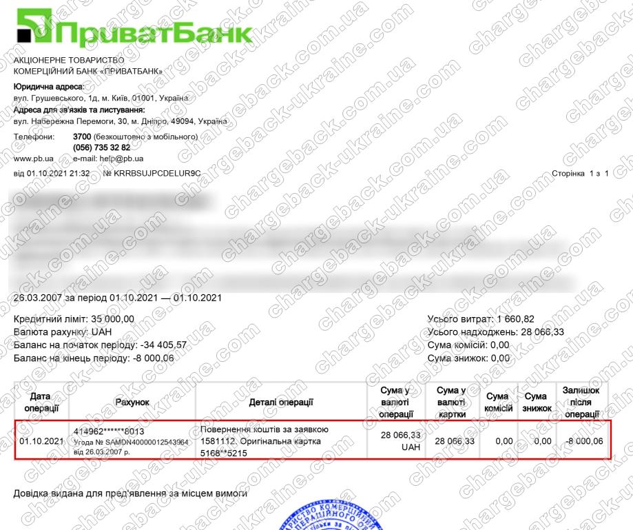 Поверенення (чарджбек) 2 жовтня 2021 – 28066 гривень з Vlom